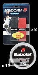 BABOLAT Towel grip omotávka (2ks) Černá/červená barva
