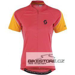 SCOTT Endurance Q-Zip dámský dres - krátký rukáv se zipem (241799) Velikost S, růžová/oranžová barva