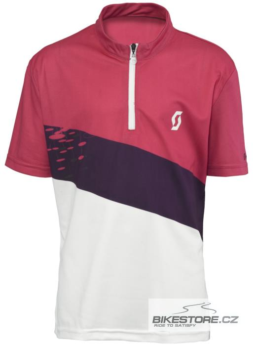 SCOTT Girls juniorský cyklistický dres - krátký rukáv (228176) Velikost 140, bílá/růžová barva