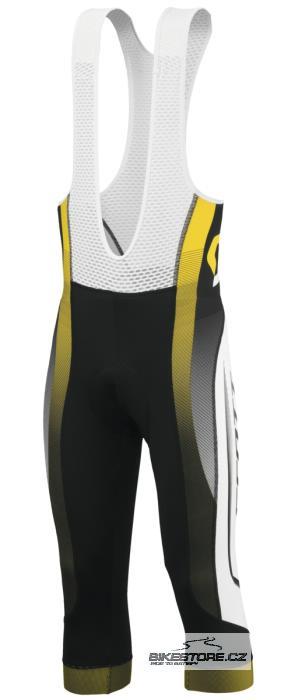 SCOTT RC Pro cyklistické kalhoty - tříčtvrteční s laclem (228081) Velikost XXL, černá/žlutá barva