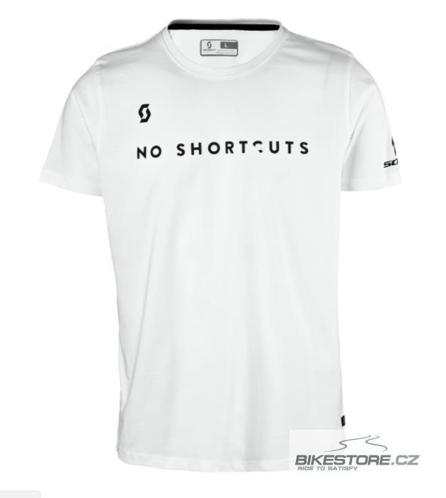 SCOTT Tee 5 No Shortcuts tričko (240129) Velikost XL, bílá barva